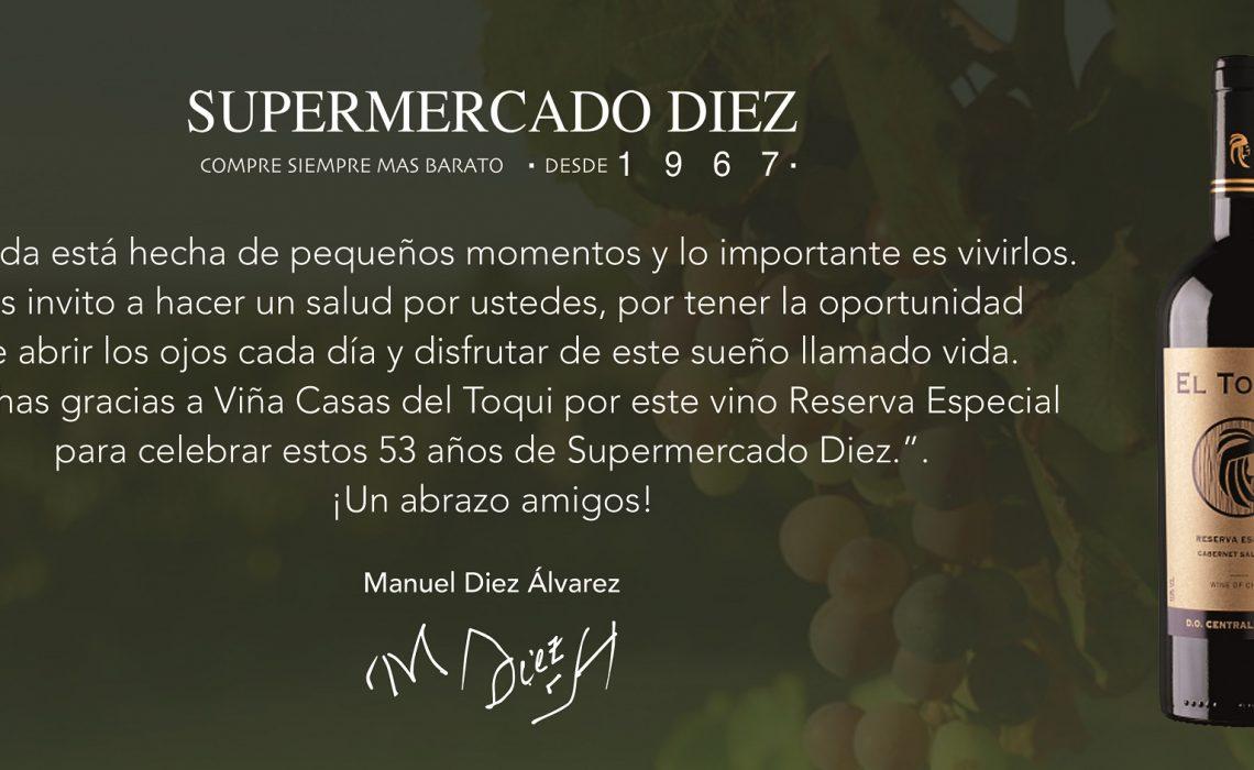 Viña Casa del Toqui crea un vino Reserva Especial para SUPERMERCADO DIEZ