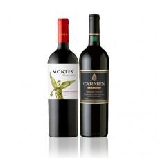 Pack 6 botellas Montes Reserva Cabernet Sauvignon + 6 botellas de Carmen Gran Vidure ($3.990 c/u)