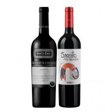 Pack 6 botellas Santa Ema Merlot  + 6  botellas Viu Maner Secreto Malbec  ($4.990 c/u)