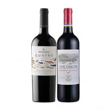 Pack 6 MontGras Quatro Blend + 6 botellas Los Vascos Reserva Cabernet Sauvignon ($3.990 c/u)