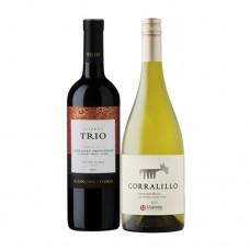 Pack 6 botellas Trio Cabernet Sauvignon + 6 botellas de Corralillo Sauvignon Blanc ($3.990 c/u)