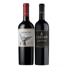 Pack 6 botellas Montes Reserva Cabernet Sauvignon + 6 carmen Gran Reserva Gran Vidure ($3.990 c/u)