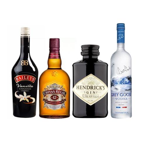 Bar, Baileys + Chiva Regal 1L + Gin Hendricks + Vodka Grey Goose