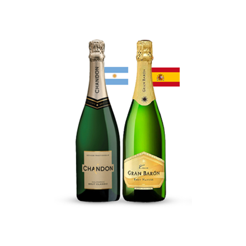 Pack 3 botellas Chandon Brut + 3 botellas Gran Baron Nature ($5.990 c/u)