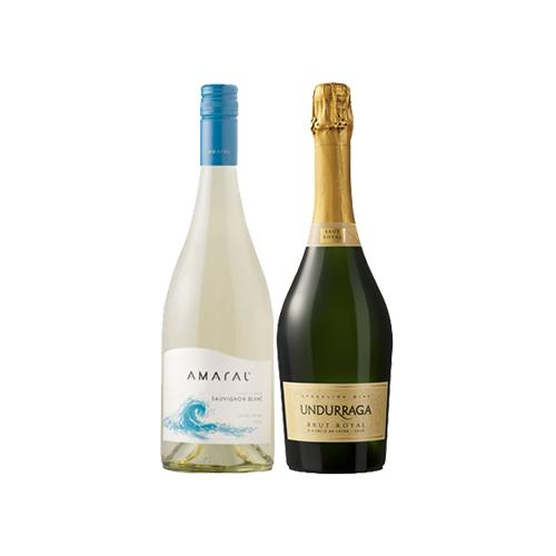 Pack 6 botellas Amaral Sauvignon Blanc + 6 botellas Espumante Undurraga Brut Royal ($3.990 c/u)