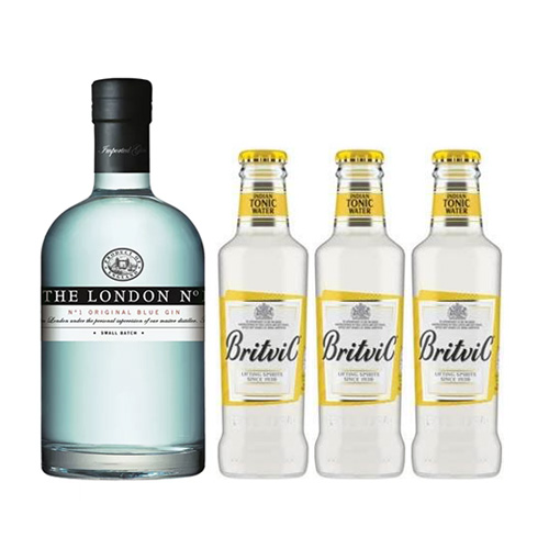 Gin London N°1, 700cc + 3 Botellas agua tonica Britvic 200cc