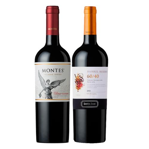 Pack 6 botellas Montes Reserva Cabernet Sauvignon + 6 botellas Santa Ema 60/40 ($3.990 c/u)