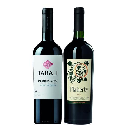 Pack 6 botellas Tabali Gran Reserva Cabernet Sauvignon + 6 botellas Flaherty  ( $5.990 c/u)
