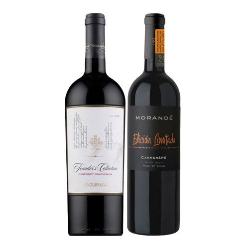 Pack 6 botellas Undurraga Founder`s Collection Cabernet Sauvignon + 6 botellas Morandé Edición Limitada Carmènere ($7.990 c/u)