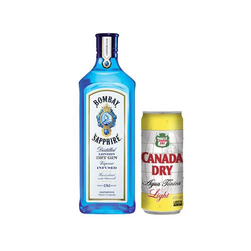 Bar, Gin Bombay + 6 Aguas Tónica light Canada Dry