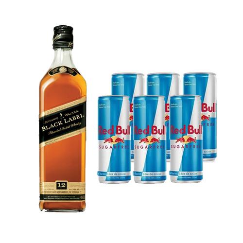 Bar, Whisky Johnnie Walker Black 750cc + 6 Latas de red Bull Light