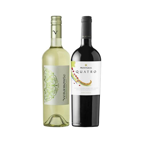 Pack 6 Botellas Veramonte Reserva Sauvignon Blanc + 6 Botellas MontGras Quatro Blend ($3.990 c/u)