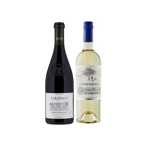 Pack 6 botellas Tarapacá Gran Reserva Cabernet Sauvignon + 6 botellas Casas del Bosque Sauvignon Blanc ($4.990 c/u)